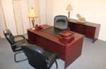 AM3672 & AM2472KH <br> Mahogany Laminate - Executive Desk &amp; Matching Credenza