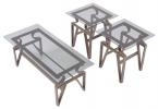 C7325/CT & C7325/ET <br> Bronze Metal/Glass - C7325/CT Bronze Metal/Glass Coffee Table . C7325/ET Bronze Metal