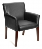 619 - Black Leather Guest Chair