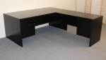 72P36/2448F <br> Black Laminate - L-Shape Desk 36 x 72 w/ 24 x 48 Flush Return