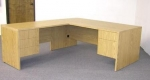 MMS3672/2448F <br> Light Oak Laminate - Executive L-Shape Desk 36 x 72 w/ 24 x 48 Flush Return
