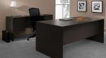 72P36 & 72P18 <br> Black Laminate Desk & Credenza - 36 x 72 Black Desk & 18 x 72 Black Credenza