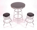 AC/BS - AC/BT <br> Bar Stool & Table - Black/Chrome Bar Stool & Charcoal/Chrome Bar Table