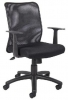 6106 <br> Black Mesh, Fabric SeatTask Chair w/ Arms - Black Mesh, Fabric Seat