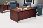 LM3672 & LM2472KH <br> Mahogany Laminate w/ Solid Wood Trim - Executive Desk &amp; Matching Credenza