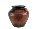 ACC43 - Black Ceramic Vase w/ Leaf