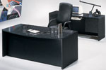 MAV3672FT & MAV2072KH <br> Black/Pyranees Laminates - Fan Top Executive Desk &amp; Matching Credenza
