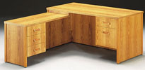 AFP3060/42 <br> Oak Laminate - L-Shape Desk 30 x 60 w/ 18 x 40 Drop Return
