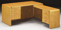 WC3060/40 <br> Oak Laminate w/ Solid Oak Trim - L-Shape Desk 30 x 60 w/ 18 x 42 Drop Return