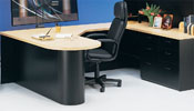 LB3072/54/72 <br> Black/Maple Laminate - Bullet U-Shape Executive Desk