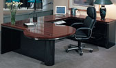 S4272/48/72 <br> Black/Mahogany Gloss Laminate w/ Chrome - P-Top U-Shape Desk