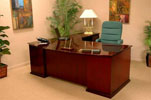 MED4284/2454 <br> High Gloss Mahogany Veneers - Fan Top Executive L-Shaped Desk