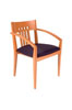 305MB - Oak /Midnight Blue, Slatted Back Side Chair